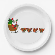 Santa Claus And Chickens Paper Plate