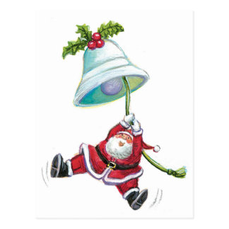 Santa Claus and Christmas Bell Postcard