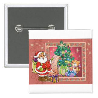 Santa Claus and Christmas Wish List 2 Inch Square Button