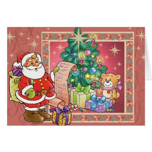 Santa Claus and Christmas Wish List Card