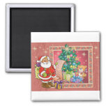 Santa Claus and Christmas Wish List Magnet