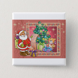 Santa Claus and Christmas Wish List Pinback Button