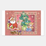 Santa Claus and Christmas Wish List Rectangular Sticker