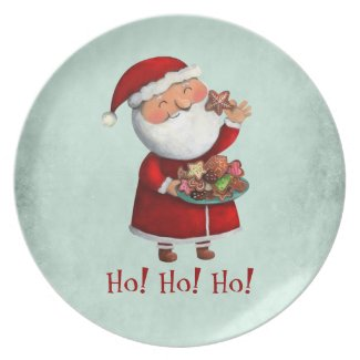 Santa Claus and Cookies Dinner Plates