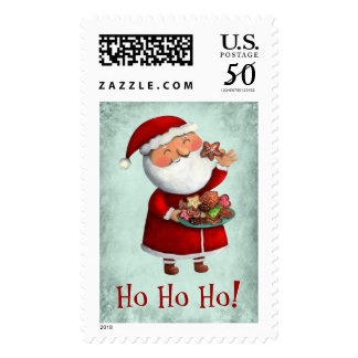 Santa Claus and Cookies Postage