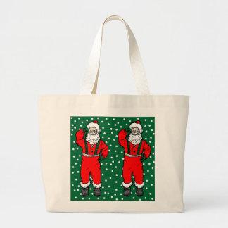 Santa Claus and Falling Snow Large Tote Bag