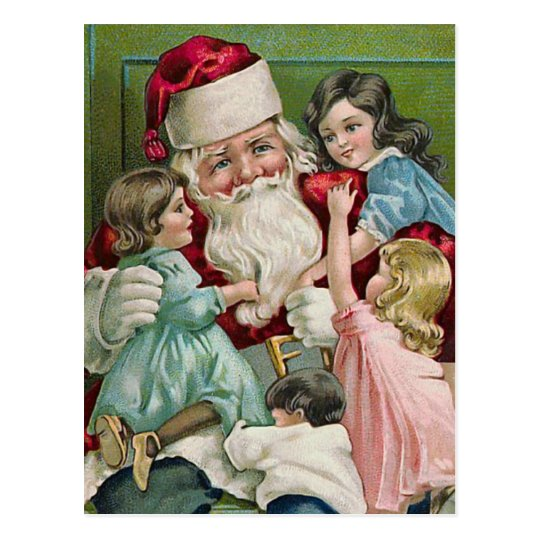 """Santa Claus and Four Children"" Postcard"