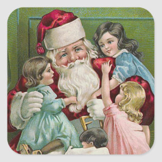 """Santa Claus and Four Children"" Square Sticker"