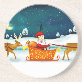 Santa Claus and his deer coaster
