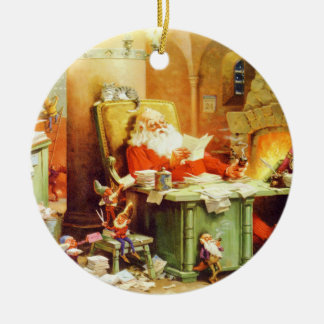 Santa Claus and His Elves Check His List Ceramic Ornament