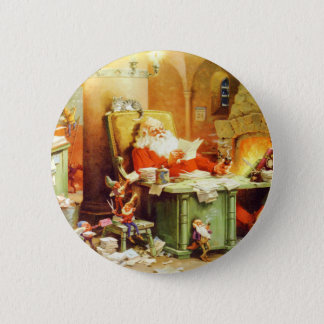 Santa Claus and His Elves Check His List Pinback Button