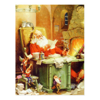 Santa Claus and His Elves Check His List Postcard