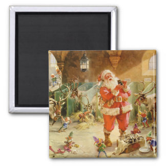 Santa Claus and his Elves in the Reindeer Stable 2 Inch Square Magnet