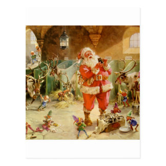 Santa Claus and his Elves in the Reindeer Stable Postcard