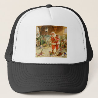 Santa Claus and his Elves in the Reindeer Stable Trucker Hat