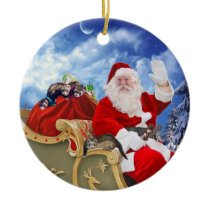 Santa Claus and His Ferrets Christmas Ornament