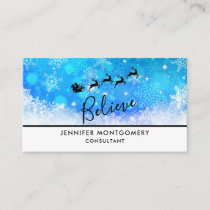 Santa Claus and his Flying Reindeer - Believe Business Card