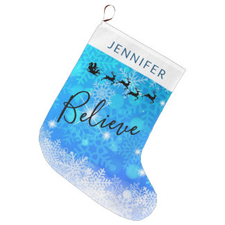 Santa Claus and his Flying Reindeer - Believe Large Christmas Stocking