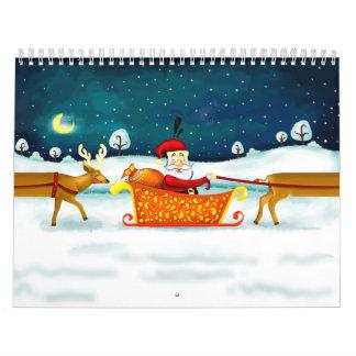 Santa Claus and his funny deer Calendar