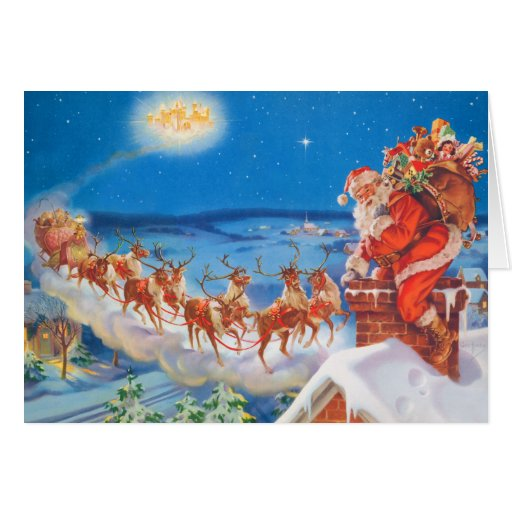 Santa Claus and his Mighty Reindeer Greeting Card