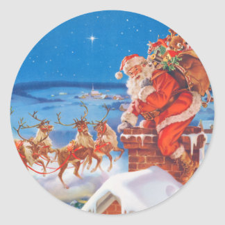 Santa Claus and his Mighty Reindeer Round Sticker