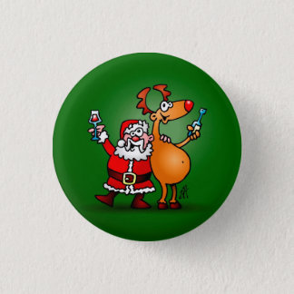 Santa Claus and his Reindeer Button