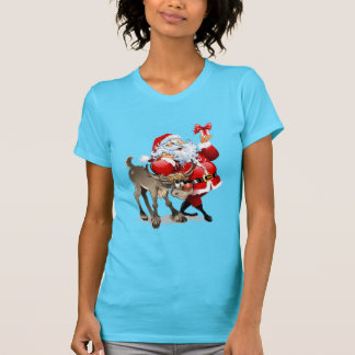 Santa Claus and his reindeer Christmas T Shirt