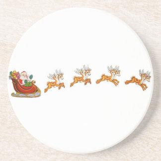 Santa Claus And His Reindeer Sandstone Coaster