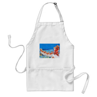 Santa Claus and his Reindeer Up on the Rooftop Adult Apron