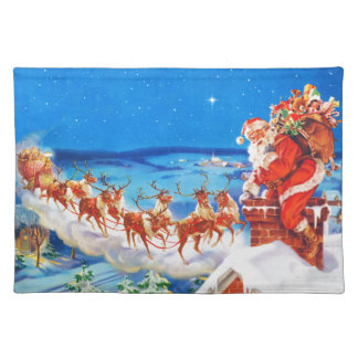 Santa Claus and his Reindeer Up on the Rooftop Placemat