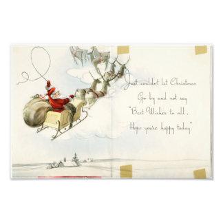 Santa Claus and his reindeer vintage illustration Photo