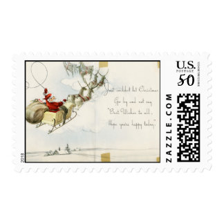 Santa Claus and his reindeer vintage illustration Postage