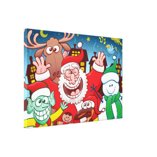 Santa Claus and his team are ready for Christmas Canvas Print