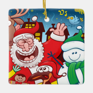 Santa Claus and his team are ready for Christmas Ceramic Ornament