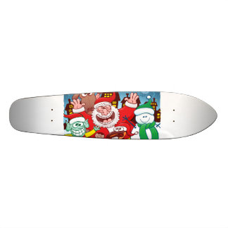 Santa Claus and his team are ready for Christmas Skateboard Deck