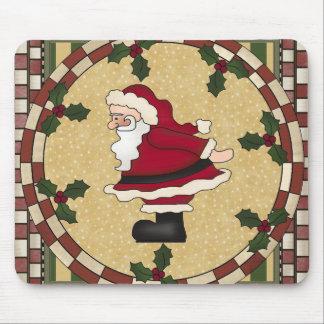 Santa Claus and Holly Christmas Mousepad