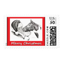 Santa Claus and Horse merry Christmas Postage