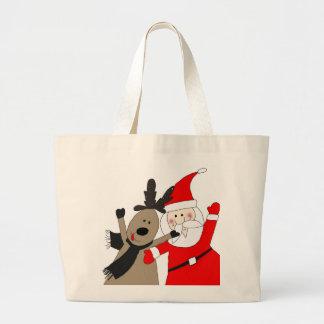 Santa Claus and Jolly Reindeer Tote Bags