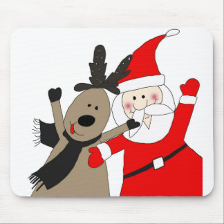 Santa Claus and Jolly Reindeer Mouse Pad