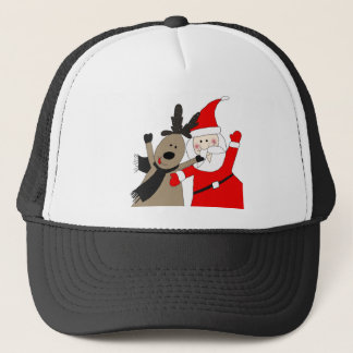 Santa Claus and Jolly Reindeer Trucker Hat
