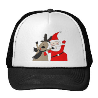 Santa Claus and Jolly Reindeer Trucker Hat