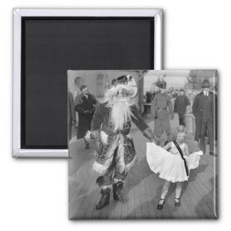 Santa Claus and Little Girl on Deck, 1925 2 Inch Square Magnet