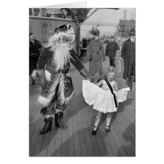 Santa Claus and Little Girl on Deck, 1925 Card
