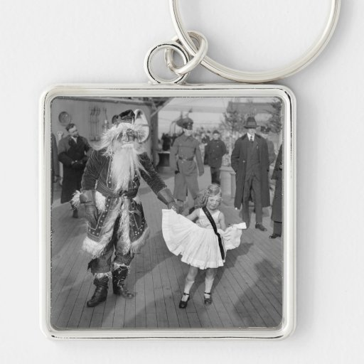 Santa Claus and Little Girl on Deck, 1925 Keychain