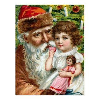 """Santa Claus and Little Girl"" Postcard"