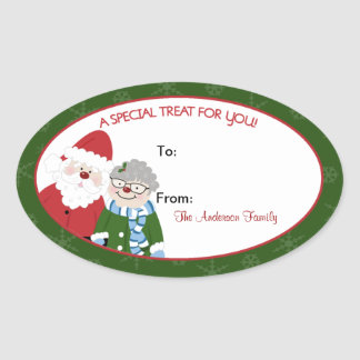 Santa Claus and Mrs. Claus Oval Baking Labels