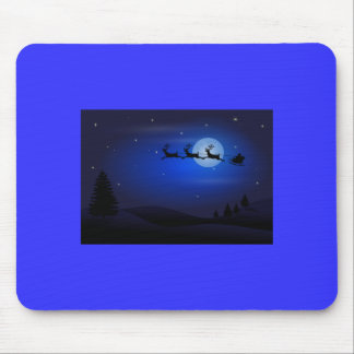 Santa Claus and Reindeer at Night Mouse Pad