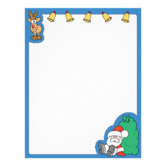 Santa Claus and Reindeer Christmas Letterhead