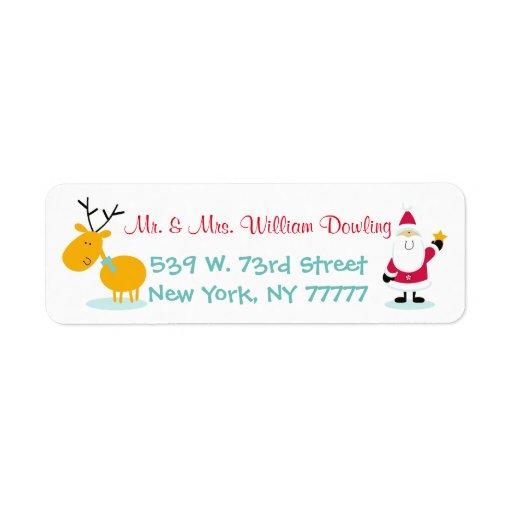 Santa Claus And Reindeer Christmas Return Address Return