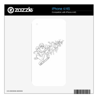 Santa Claus and Reindeer Christmas Sleigh Sled Decal For iPhone 4S